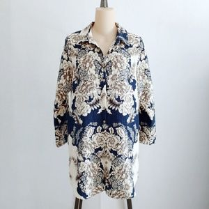 Soft Surroundings Remy Floral Navy Blue Tunic